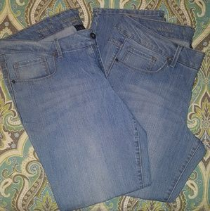2 Pair Faded Glory 16P Straight Leg Jeans